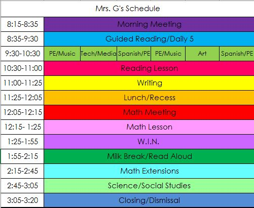 Mrs. G Weekly Class Schedule