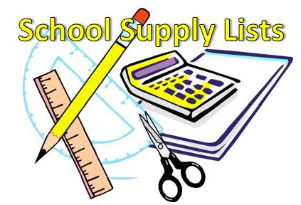 School Supply Lists calculator pencil and notebook