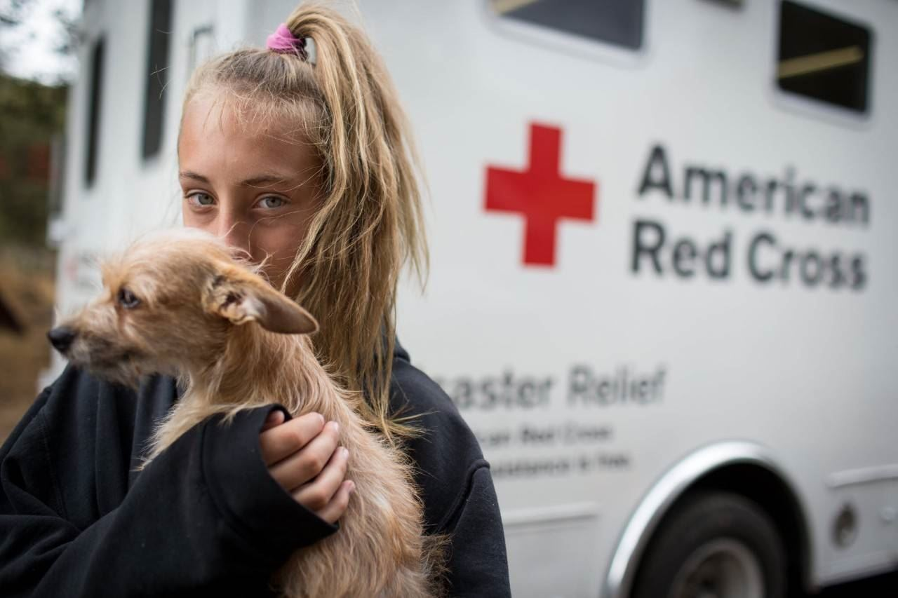 American Red Cross Mobile with girl and her dog